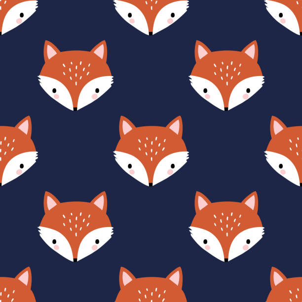 Seamless vector pattern with cute hand drawn fox head. Perfect for textile, wallpaper or print design. adventure patterns stock illustrations