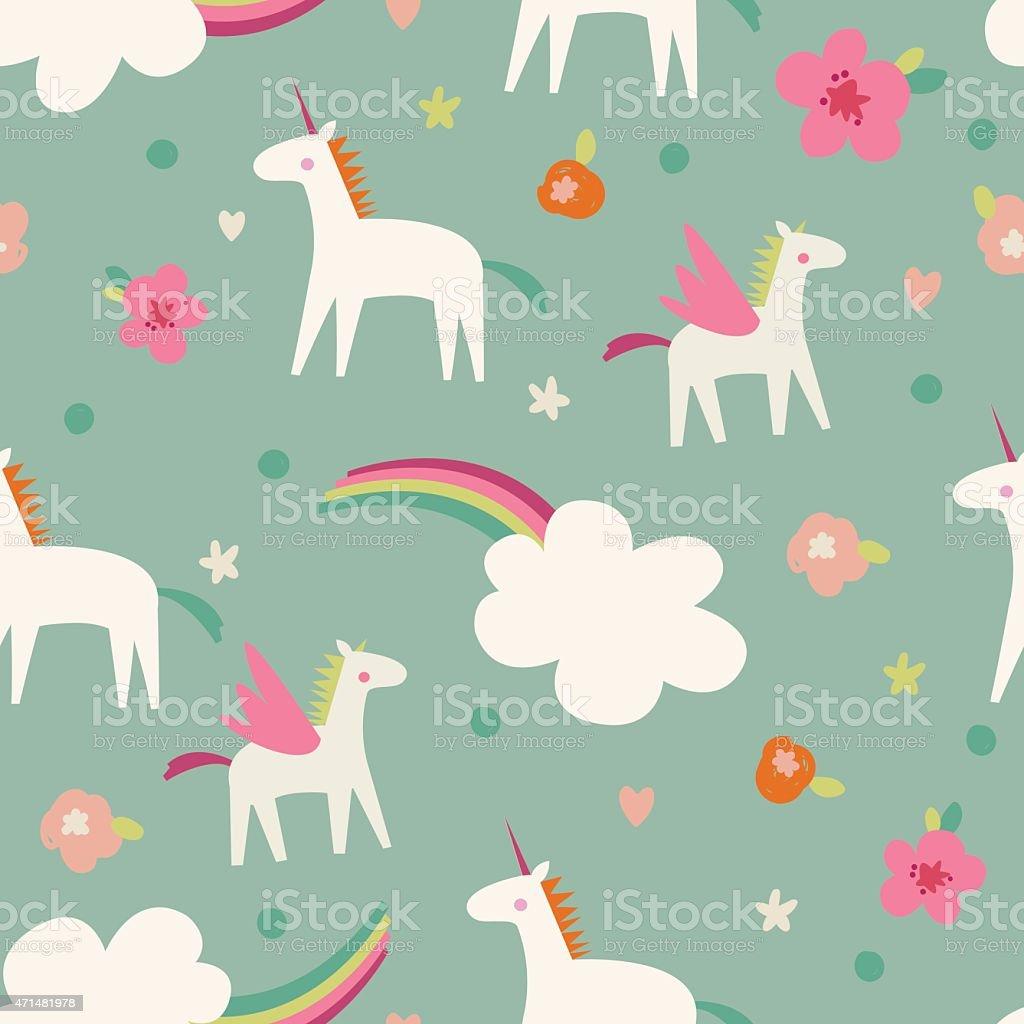 Seamless vector pattern with cute magic unicorns vector art illustration