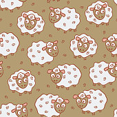 Repeat  vector pattern with sheep on brown.