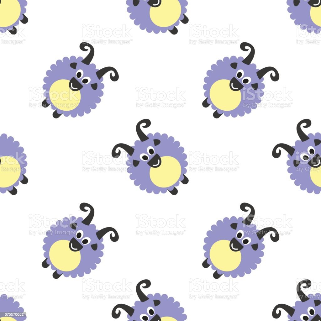 Seamless vector pattern with farm animals. Cute background with blue comic sheeps on the white backdrop. Series of Animals and Insects Seamless Patterns. seamless vector pattern with farm animals cute background with blue comic sheeps on the white backdrop series of animals and insects seamless patterns – cliparts vectoriels et plus d'images de agneau - animal libre de droits
