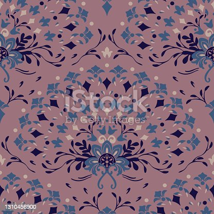 istock Seamless vector pattern with flower fan on purple background. Simple romantic floral wallpaper design. Decorative tribal fashion textile. 1310456900