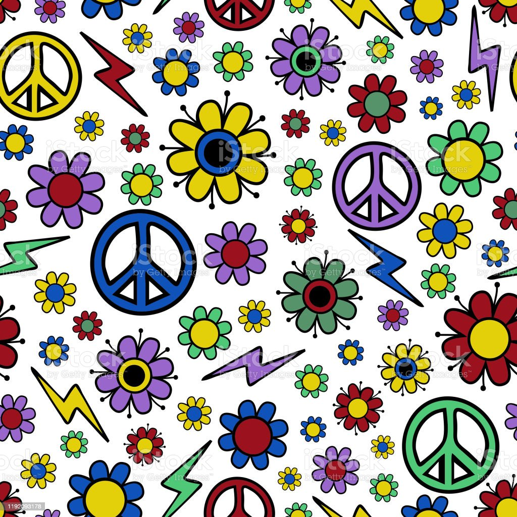 Seamless Vector Pattern With Flowers And Peace Symbol 70s 60s