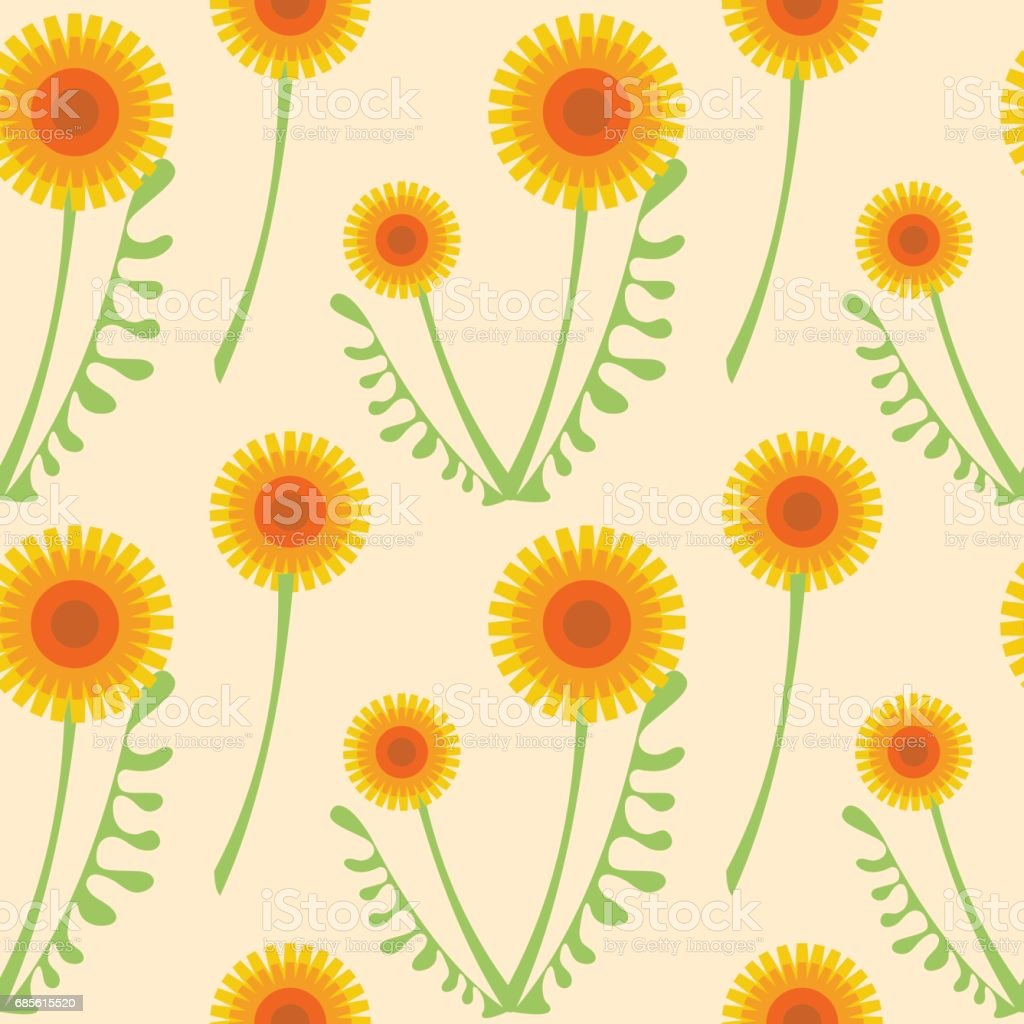 Seamless vector pattern with flowers. Floral background with dandelions. Graphic design, drawn illustration Print for wrapping, wallpaper, decoration, surface seamless vector pattern with flowers floral background with dandelions graphic design drawn illustration print for wrapping wallpaper decoration surface - arte vetorial de stock e mais imagens de arte royalty-free