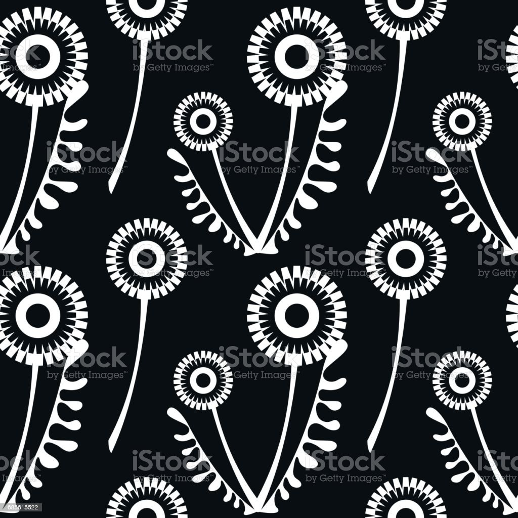 Seamless vector pattern with flowers. Floral background with dandelions. Graphic design, drawn illustration Print for wrapping, wallpaper, decoration, surface 免版稅 seamless vector pattern with flowers floral background with dandelions graphic design drawn illustration print for wrapping wallpaper decoration surface 向量插圖及更多 傳統園林 圖片