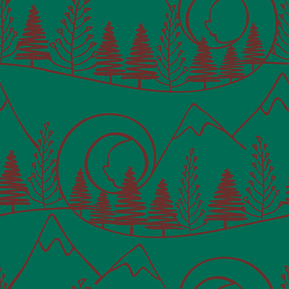 Seamless vector pattern with forest and mountains landscape on green background. Simple artistic line art wallpaper design. Decorative woodland fashion textile.