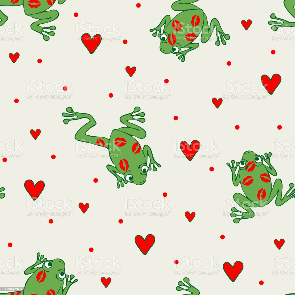 カエルと白い背景にハートを愛とシームレスなベクトルパターン