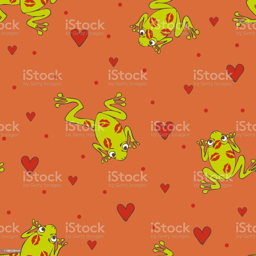 カエルとピンクの背景にハートを愛とシームレスなベクトルパターン