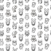 istock Seamless vector pattern with funny doodle owls 1239967063