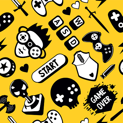 Seamless vector pattern with game elements. Funny video games texture with joystick controller and computer mouse.