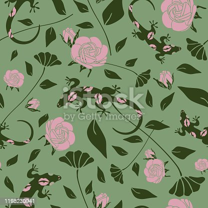 Seamless vector pattern with gecko and roses on green background. Floral wallpaper design with lizards. Beautiful flower bush.