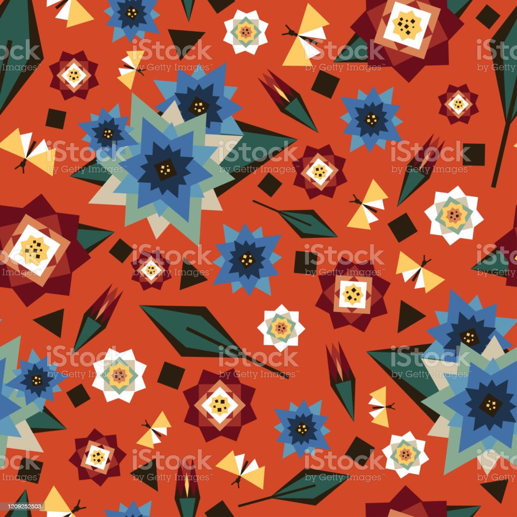 seamless vector pattern with geometric flowers on orange background vector id1209252503