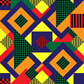 Repeat vector pattern with colourful geometrical shapes.
