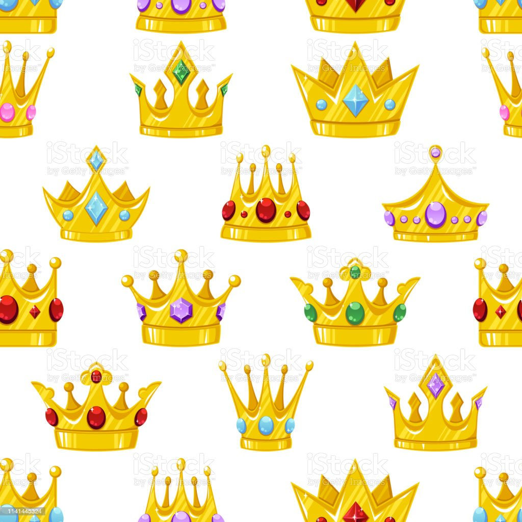 Seamless Vector Pattern With Golden Cartoon Crowns Stock ...