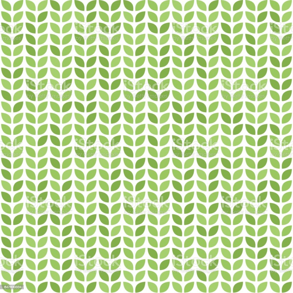 Seamless vector pattern with green leaves vector art illustration
