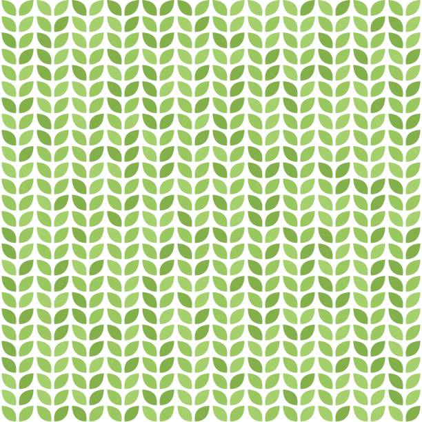 Seamless vector pattern with green leaves Seamless vector pattern with green leaves. Decorative greenery print natural pattern stock illustrations