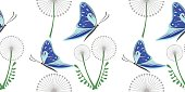 Seamless vector pattern with grey dandelions and blue butterflies on the white background.