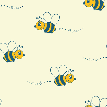 Seamless vector pattern with hand drawn bees on yellow background. Simple happy bumblebee wallpaper design for children. Decorative summer fashion textile.