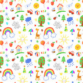 Seamless vector pattern with hand drawn children toys, kids doodles background
