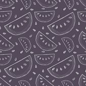 Seamless vector pattern with hand drawn fruits. Background with piece of watermelons. Series of Cartoon, Doodle, Sketch and Hand drawn Seamless Patterns.