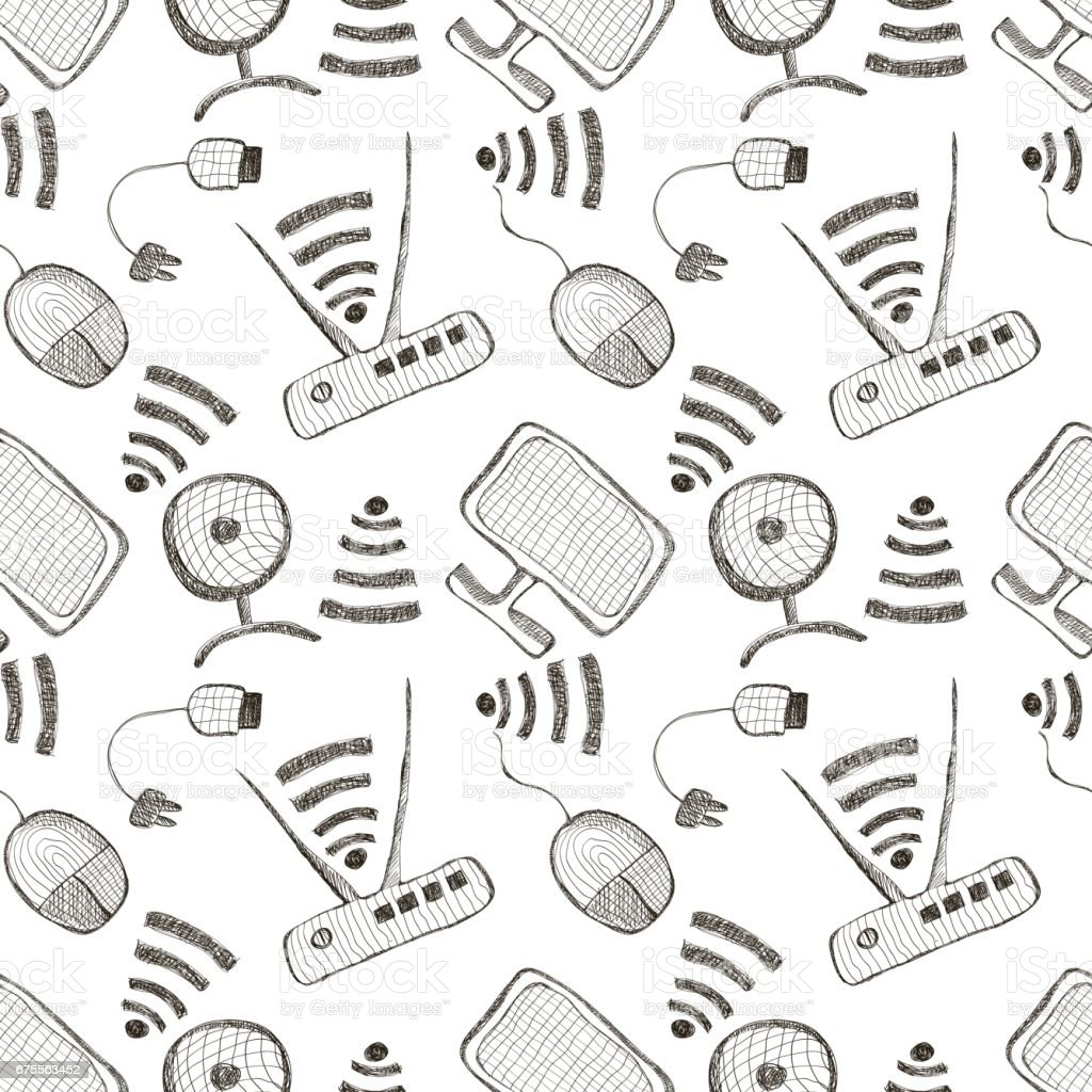seamless vector pattern with hand drawn monitor pc mouse wifi router and usb cable on the white