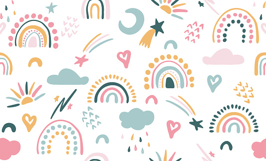 Seamless vector pattern with hand drawn rainbows and sun. Trendy baby texture for fabric, textile, wallpaper, apparel, wrapping