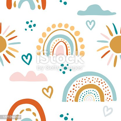 istock Seamless vector pattern with hand drawn rainbows and sun. Trendy baby texture 1221250202