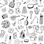 Seamless vector pattern with hand drawn sketch kitchen tools