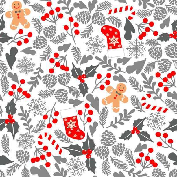 Seamless vector pattern with holly berries, candy, gingerbread Man, christmas socks. Winter seamless vector pattern with holly berries, candy, gingerbread Man, christmas socks. Part of Christmas backgrounds collection. Can be used for wallpaper, pattern fills, surface textures, fabric gingerbread man stock illustrations