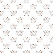 Seamless vector pattern with insects, symmetrical background with black and red butterflies on the white backdrop. Decorative ornament. Series of Insects Seamless Patterns.