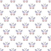 Seamless vector pattern with insects, symmetrical background with blue and pink butterflies on the white backdrop. Decorative ornament. Series of Insects Seamless Patterns.