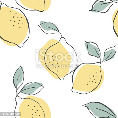 Seamless vector pattern with juicy lemons.Lemons background. Hand drawn overlapping backdrop. Seamless pattern with citrus fruits collection. Decorative illustration, good for printing.