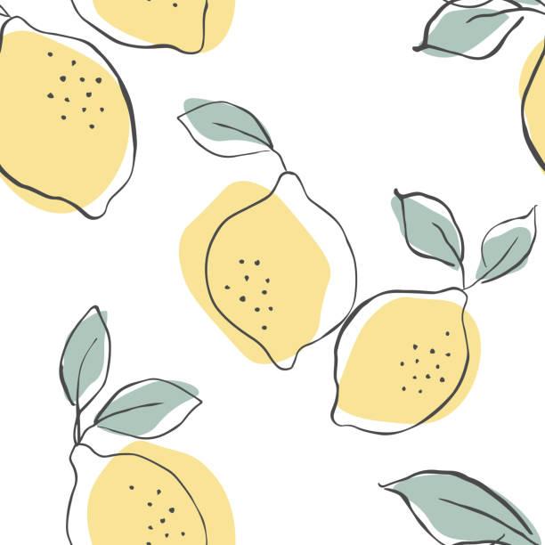 bezszwowy wzór wektorowy z soczystymi cytrynami. cytryny tło. ręcznie rysowane nakładające się tło. bezszwowy wzór z kolekcją owoców cytrusowych. ilustracja dekoracyjna, dobra do druku. - cytryna stock illustrations