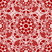 Repeat vector pattern with white lace texture on red background.