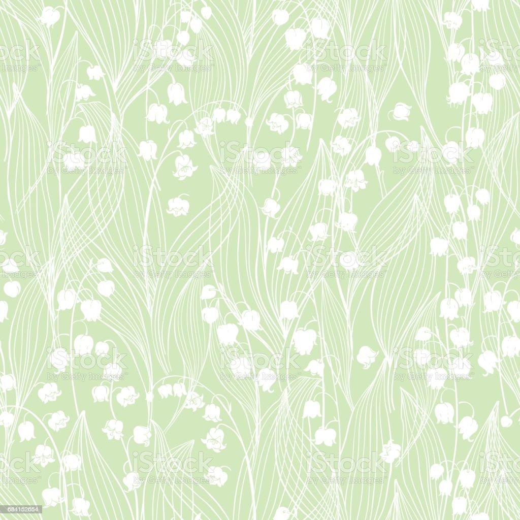 Seamless vector pattern with lilies of the valley  on a green background. seamless vector pattern with lilies of the valley on a green background - immagini vettoriali stock e altre immagini di bianco royalty-free