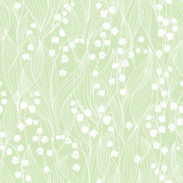 Seamless vector pattern with lilies of the valley  on a green background. Endless background with lilies of the valley. lily of the valley stock illustrations