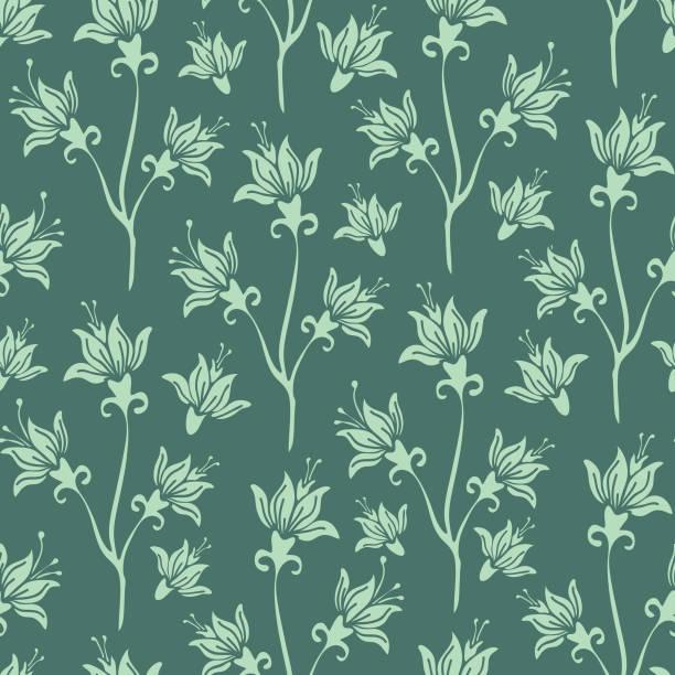 nahtloses vektormuster mit lilien auf grünem hintergrund. floral wiederholen tapete design. wohnkultur mit romantischen blumen. - tapete stock-grafiken, -clipart, -cartoons und -symbole
