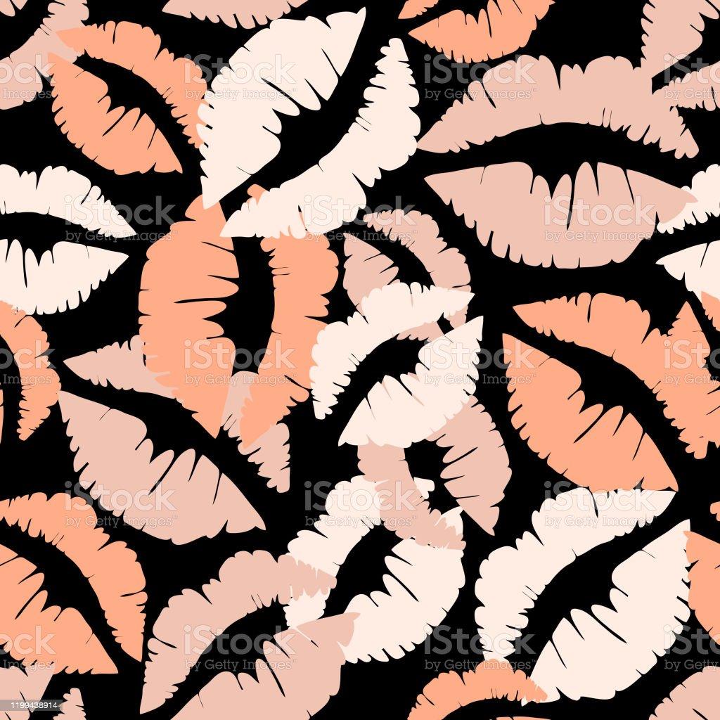 黒の背景にリップマークを付けシームレスなベクトルパターンヌード口紅プリントでシンプルなかわいい壁紙のデザイン I Love Youのベクターアート素材や画像を多数ご用意 Istock