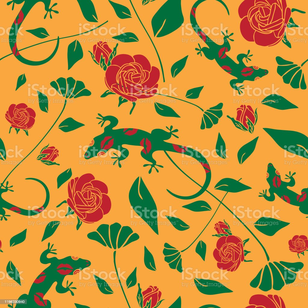 Seamless Vector Pattern With Lizard And Roses On Yellow Background