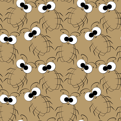 Seamless vector pattern with outline cute brown cockroach