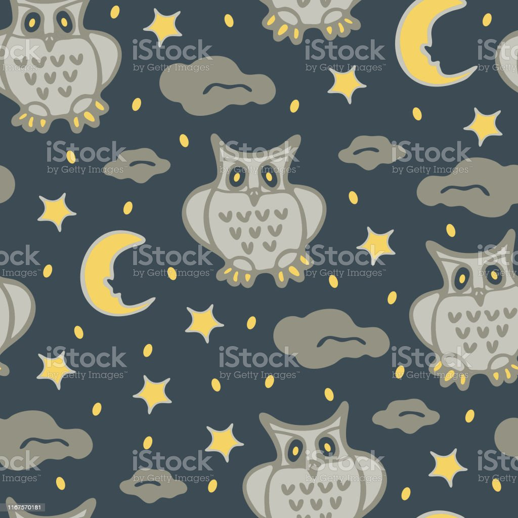 Cute owls seamless pattern in simple style with ornaments. Can be...