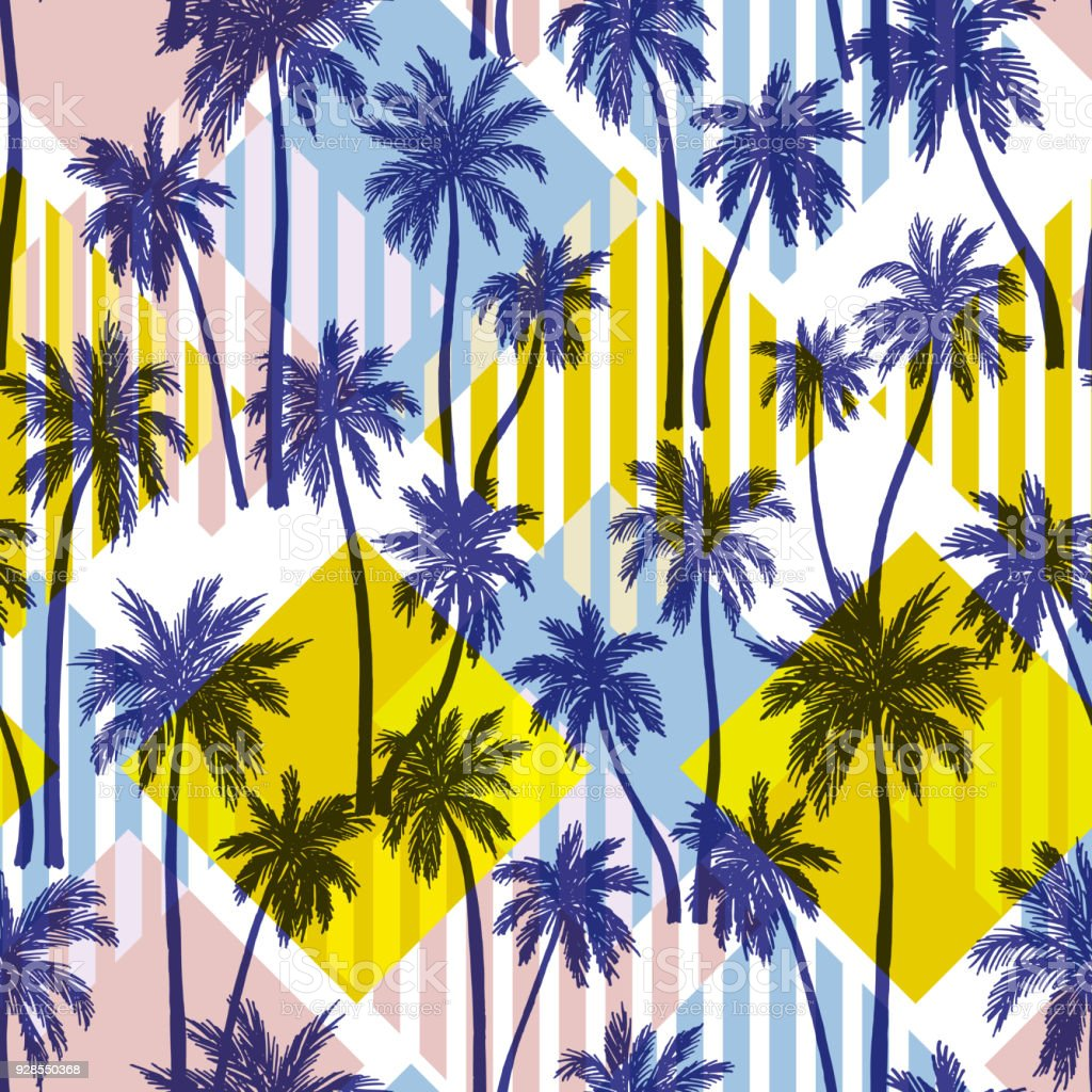 Seamless Vector Pattern With Palm Trees Stock Vector Art More