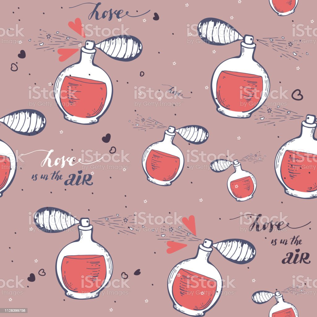 Seamless vector pattern with perfume. hand drawn bottles. Sketch....
