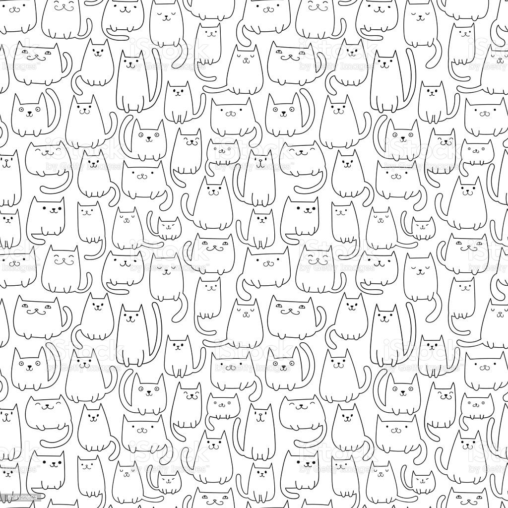 Seamless vector pattern with plenty of cutel cats vector art illustration