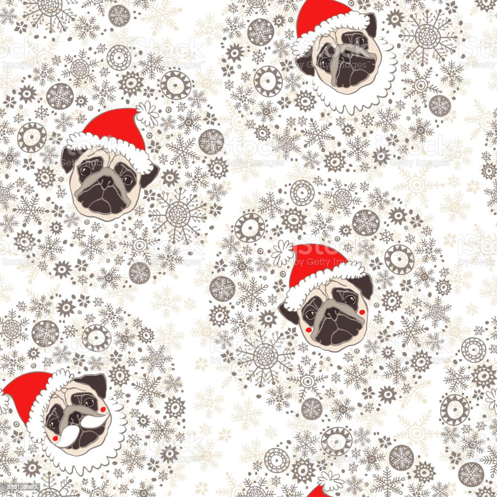 d030e34d3a7 Seamless vector pattern with pugs dogs in Santa Claus hat. Dog - animal  symbol of