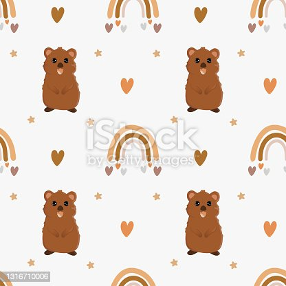 istock Seamless vector pattern with quokka and rainbow. Trendy baby texture for fabric, wallpaper, apparel, wrapping 1316710006