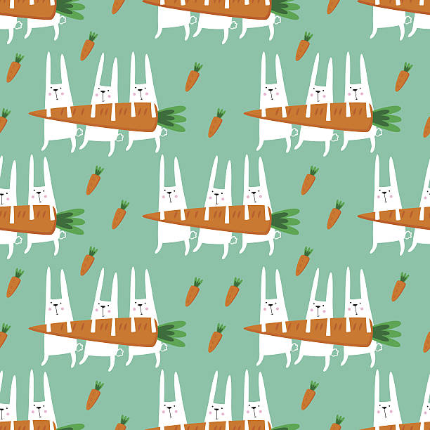 Seamless vector pattern with rabbits and carrots. vector art illustration