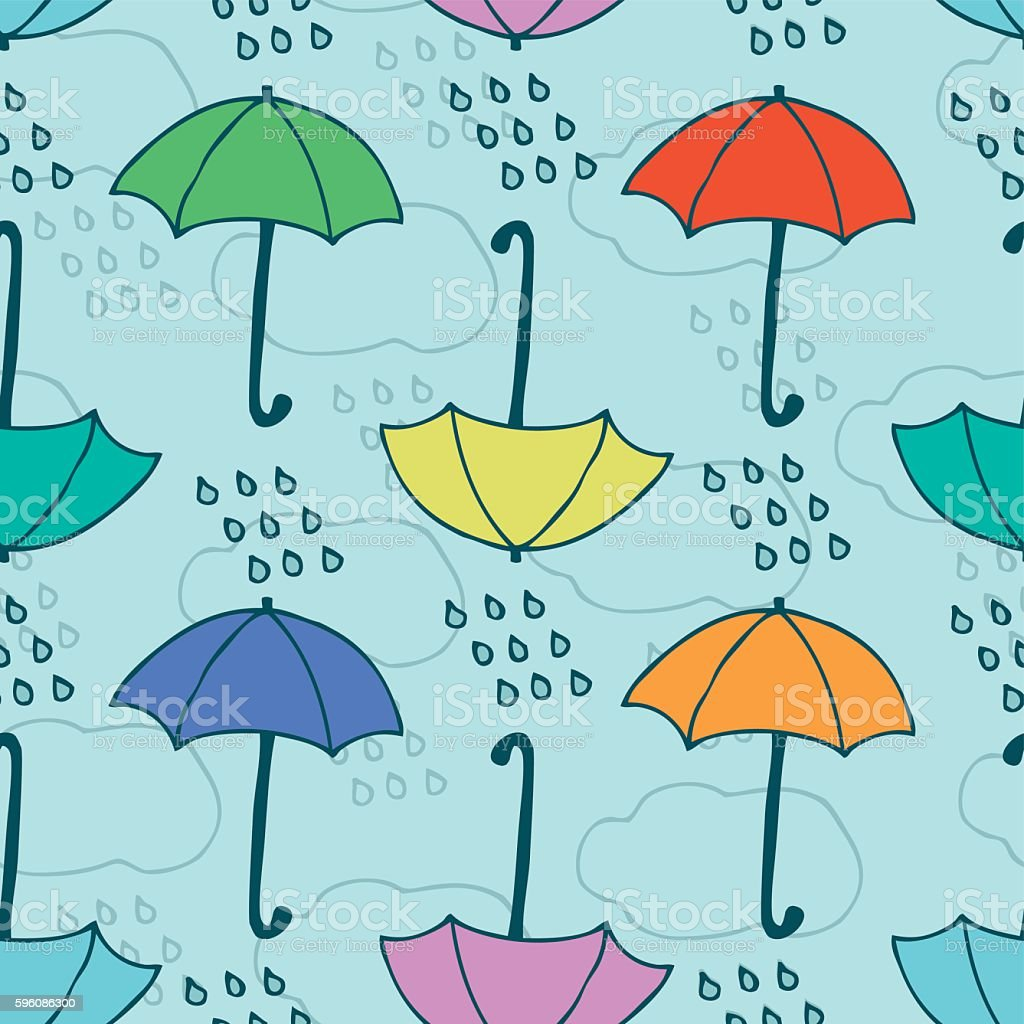 Seamless Vector Pattern with Rain and Umbrellas royalty-free seamless vector pattern with rain and umbrellas stock vector art & more images of autumn