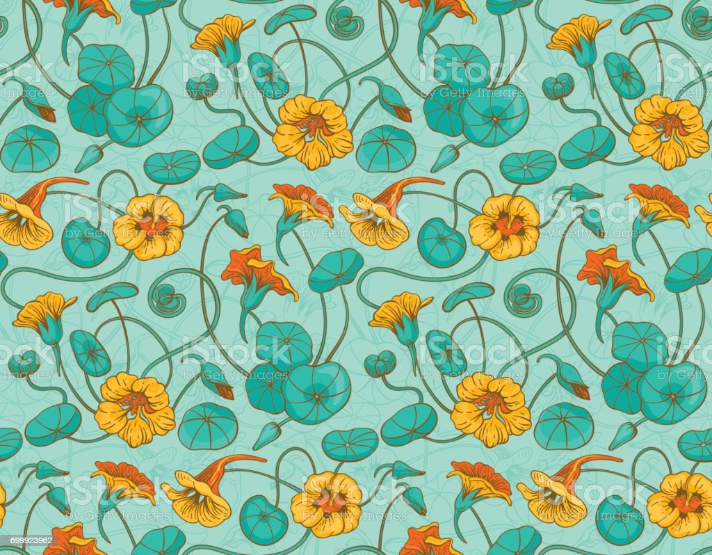 Seamless vector pattern with red and yellow nasturtium flowers and leaves on turquoise background royalty-free seamless vector pattern with red and yellow nasturtium flowers and leaves on turquoise background stock illustration - download image now