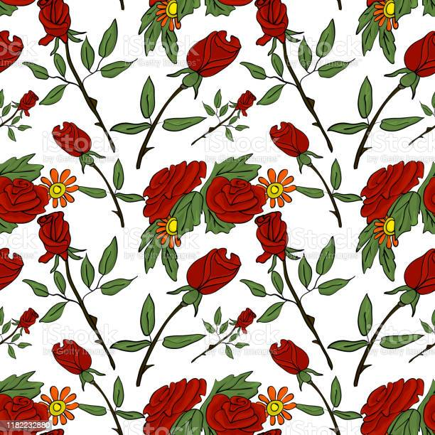 Seamless vector pattern with red roses and daisies on a white for vector id1182232880?b=1&k=6&m=1182232880&s=612x612&h=6i3qimtidhsxkpqnnf1325dzc69byeiemknqxshdrue=