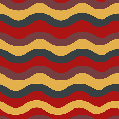 Seamless vector pattern with retro wavy lines. Simple artistic background. Decorative disco stripes wallpaper design. Boho vintage fashion textile.